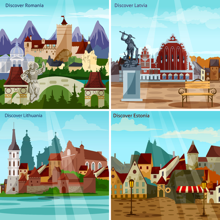 eastern europe: European Cityscapes Concept. Europe And Sights Vector Illustration. European Cities Flat Icons Set. European Countries Design Set. Eastern Europe Isolated Elements.