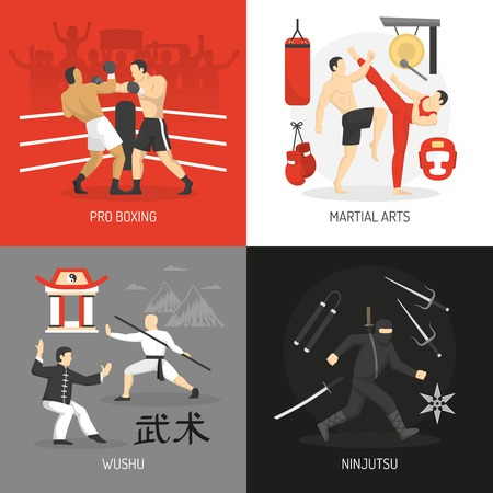 edged: Martial arts concept with boxing chinese fighting school ninja and edged weapon training equipment isolated vector illustration