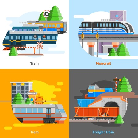 monorail: Rail transport 2x2 design concept set of passenger and freight trains monorail and tram compositions flat vector illustration Illustration
