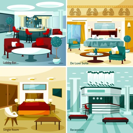 suite: Colorful modern hotel interior lobby bar de luxe suite single room and reception 2x2 design concept cartoon vector illustration