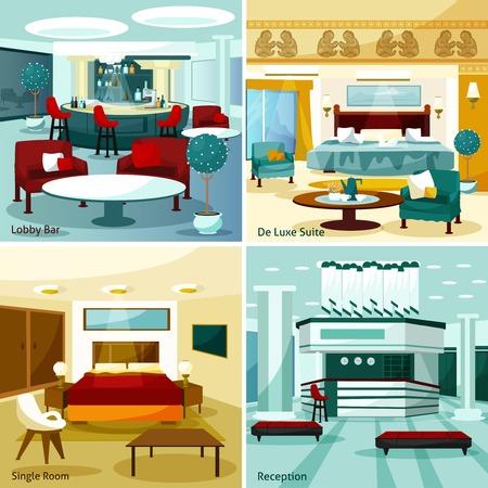 Colorful modern hotel interior lobby bar de luxe suite single room and reception 2x2 design concept cartoon vector illustration