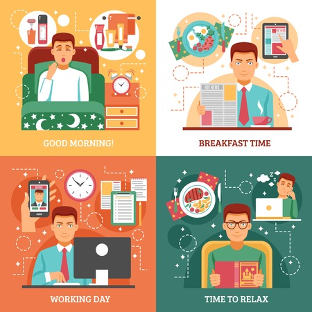 breakfast in bed: Man daily routine design concept four icon set that describe how a person spends his day vector illustration