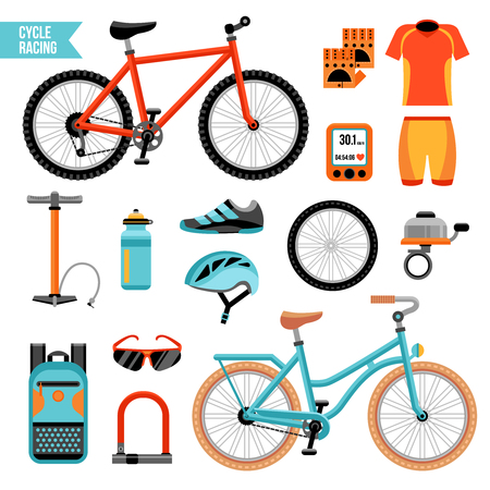 Bike and cycling accessories colored icons set with biker uniform elements pump wheel bicycle bell isolated vector illustration