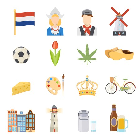 dutch culture: Colorful netherlands symbols and dutch culture flat icons set on white background isolated vector illustration