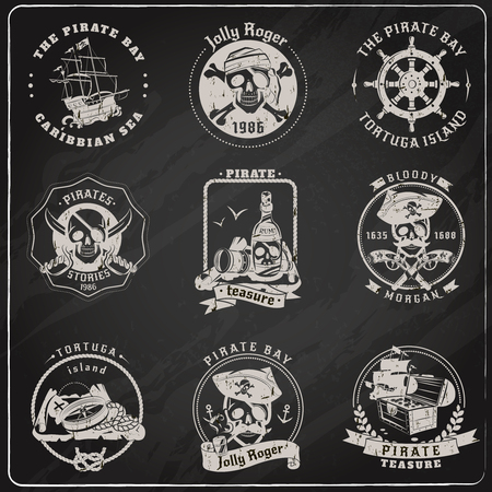 game gun: Famous pirate stories games and legends emblems pictograms set in chalk on blackboard abstract isolated vector illustration