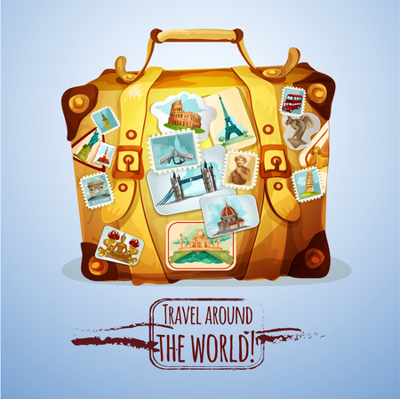 bag cartoon: Touristic suitcase with world landmark stamps and stickers cartoon poster vector illustration