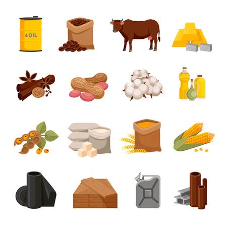 commodities: Una variedad de mercancías iconos planos establecidos con los productos alimenticios y materiales aislados en fondo blanco ilustración vectorial