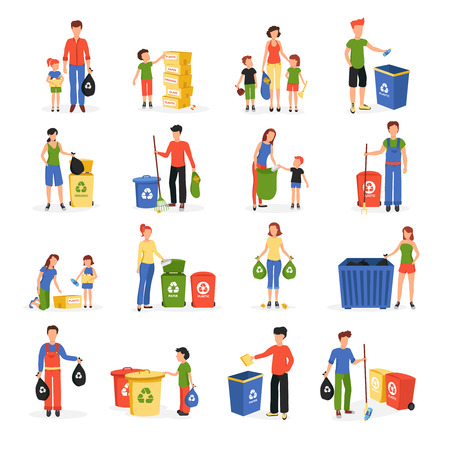 sorting: People collecting and sorting waste for recycling and reuse flat icons collection abstract isolated vector illustration