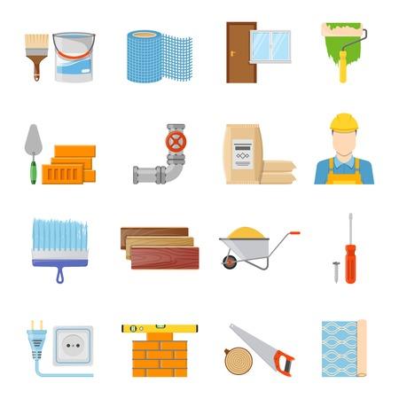 materiales de construccion: Diversos materiales de construcción constructor y herramientas de iconos establecidos en fondo blanco ilustración vectorial aislado plana Vectores