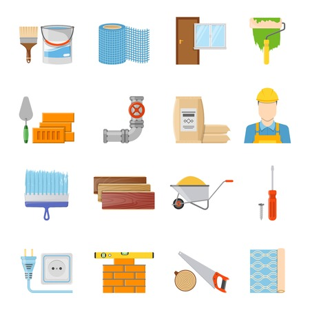 Various construction materials builder and tools icons set on white background flat isolated vector illustration