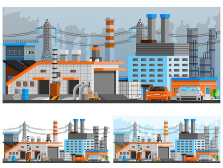 orthogonal: Industrial buildings orthogonal compositions set with pipes and parking flat isolated vector illustration Illustration