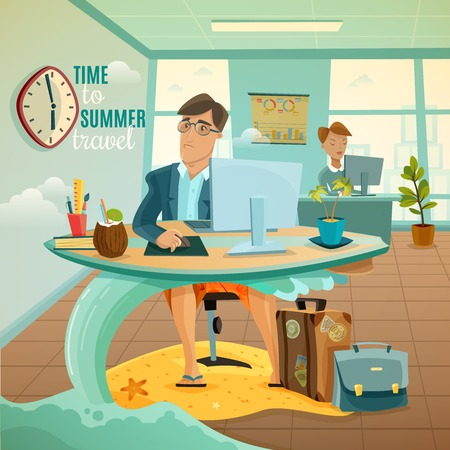cartoon clock: Sad office clerk dreaming of travel during summer vacation fantasy cartoon vector illustration