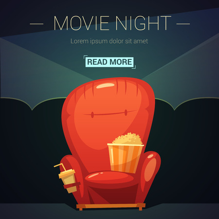 movie screen: Movie night cartoon background with seat cola and popcorn vector illustration Illustration