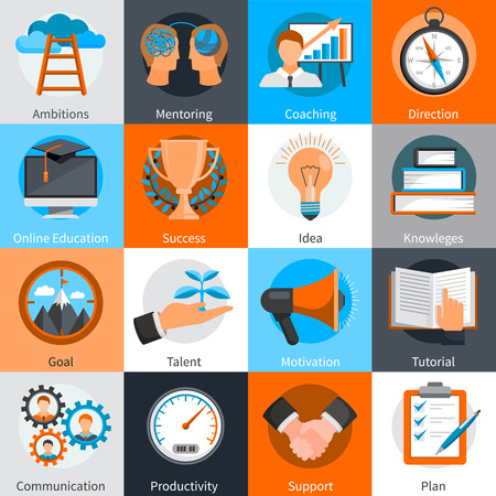 Flat design concept icons for mentoring and coaching skills development set isolated vector illustration Vetores