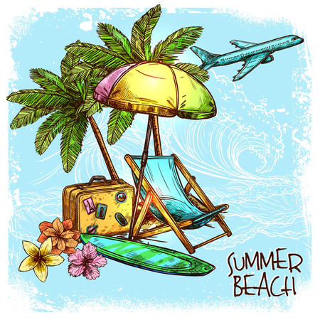 sunshade: Summer beach concept with sketch palm sunbed and sunshade vector illustration