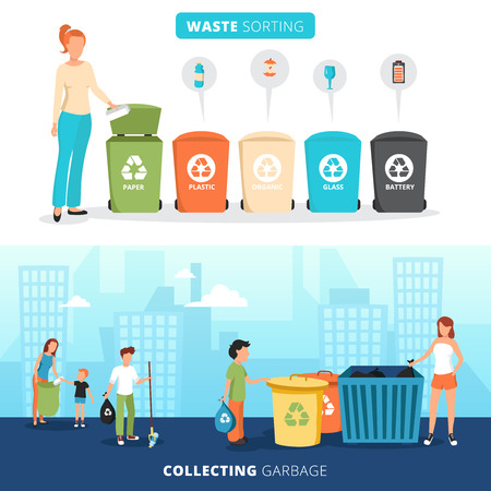 Waste sorting bins for paper plastic glass and batteries 2 flat banners with garbage collectors abstract vector illustration