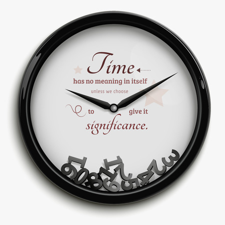 stopped: Wall clock in original design with time stopped isolated on white background vector illustration Illustration