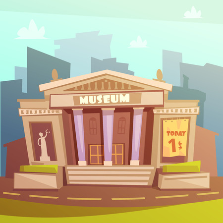 art museum: Color cartoon illustration depicting museum building with title and columns vector illustration Illustration