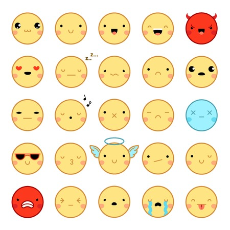Flat Design Twenty Five Funny Colorful Emoji Emoticons Set With Various Emotions Isolated On White