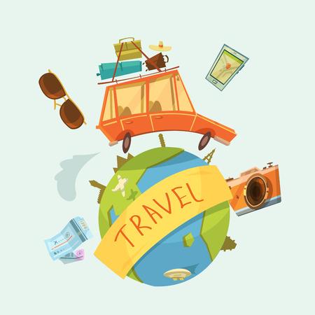 bagagli: Viaggio intorno al concetto del mondo con i biglietti di auto e illustrazione vettoriale fotocamera cartone animato