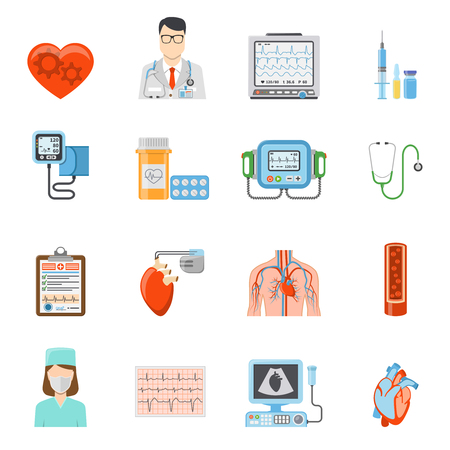Cardiology flat icons set of medical tools and equipment for heart care and treatment on white background isolated vector illustration Illustration