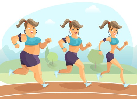 plump: Transition from plump to slim young woman jogging outside on background with trees and mountains cartoon vector illustration
