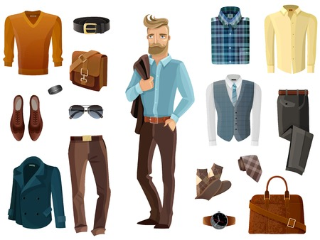 business bag: Fashion formal clothing shoes accessories set and hipster man with coat over his shoulder in middle on white background cartoon isolated vector illustration
