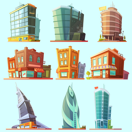 distinctive: Historical and modern world most visited famous distinctive buildings icons set for tourists cartoon isolated vector illustration