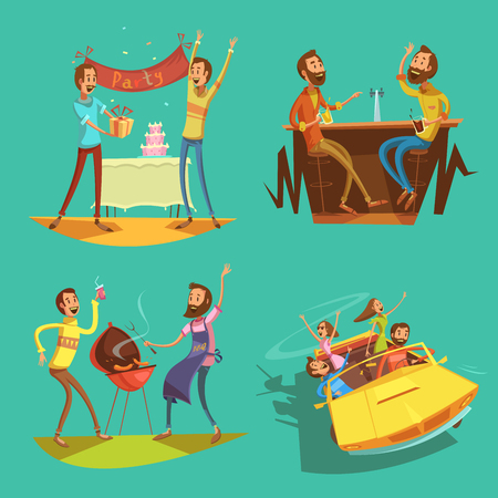 pastimes: Friends cartoon set with celebration and pastimes symbols on green background isolated vector illustration