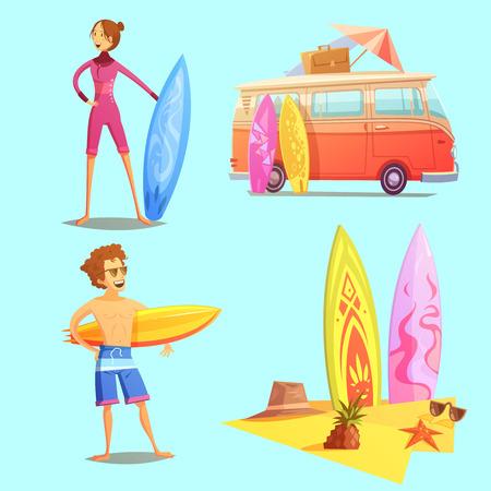 サーフィン レトロ漫画 2 × 2 アイコンを設定するサーファーのバスと、サーフボードのビーチ分離フラット レトロ漫画のベクトル図