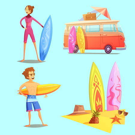 Surfing retro cartoon 2x2 icons set with surfers bus and surfboards on beach flat retro cartoon isolated vector illustration Çizim