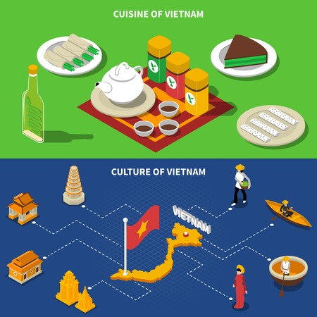 places of interest: Vietnam cuisine culture and touristic places of interest 2 isometric banners with country map isolated vector illustration