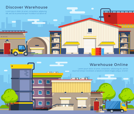 transportation facilities: Big warehouse building of different shape with transport for goods delivery on cityscape background flat banners isolated vector illustration Illustration