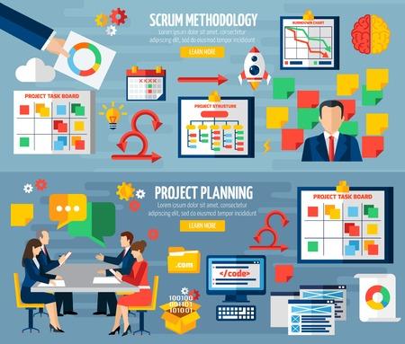 Scrum agile development methodologie teamwork 2 kleurrijke horizontale banners met geïsoleerde sprint projectplanning abstract vector illustratin