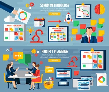 Scrum agile development methodology teamwork 2 colorful horizontal banners with sprint project planning abstract isolated vector illustratin Иллюстрация