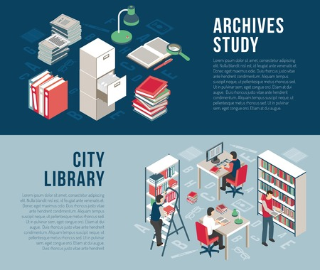 information  isolated: City university studies library documents archives and catalog  information 2 horizontal isometric banners abstract isolated vector illustration