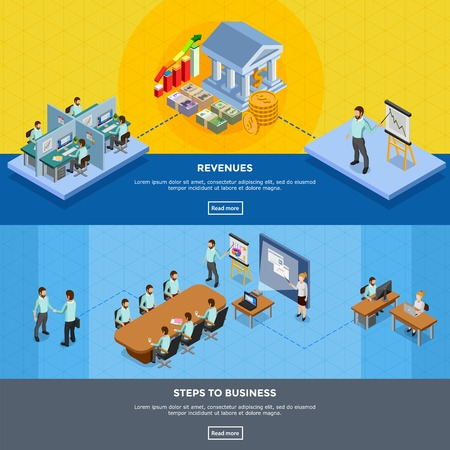 office presentation: Isometric office banners with clerks at their workplaces and in presentation room isolated vector illustration Illustration