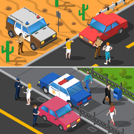 gun license: Color isometric horizontal banners showing police people work vector illustration