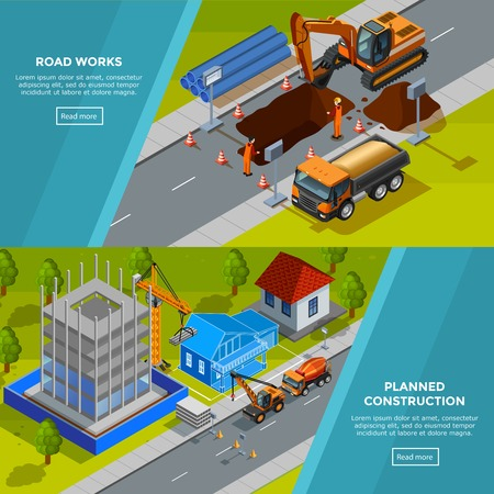 road works: Construction horizontal isometric  banners with road works composition and planned models of house decorative icons flat vector illustration