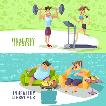 sedentary: Healthy and unhealthy people horizontal banners set isolated cartoon vector illustration