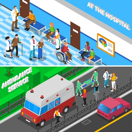 gerontology: Hospital emergency department entrance with ambulance and waiting room for patients 2 isometric banners isolated vector illustration
