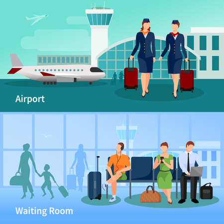 airfield: Airport flat compositions with people in waiting room and stewardesses on airfield at air terminal background vector illustration