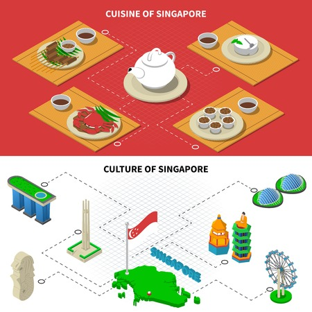 singapore culture: Singapore culture with stone lion sculpture and national cuisine dishes 2 isometric banners abstract isolated vector illustration