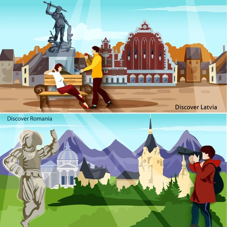 european countries: European Countries Flat Concept. Europe And Sights Horizontal Compositions. European Cities Vector Illustration. European Cityscapes Isolated Set. Discover Latvia And Romania Design Symbols.