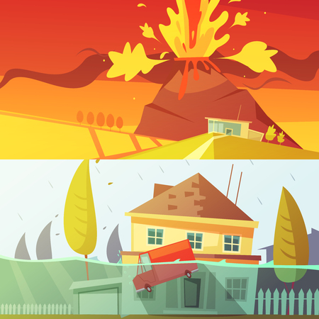 natural color: Color cartoon horizontal banners depicting natural disaster flood and volcano disaster vector illustration