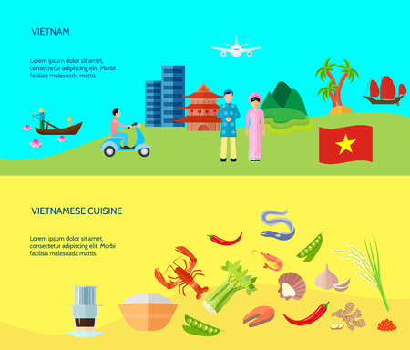 information  isolated: Information on vietnamese cuisine culture and places of interest and 2 flat horizontal banners abstract isolated vector illustration