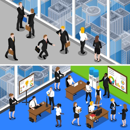secretary: Business people at work two horizontal isometric with office managers and administrative personnel abstract isolated vector illustration