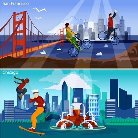 american cities: American Cities Flat Concept. USA Sights And People Compositions Set. US Cityscapes Vector Illustration. America And Cities Isolated Set.