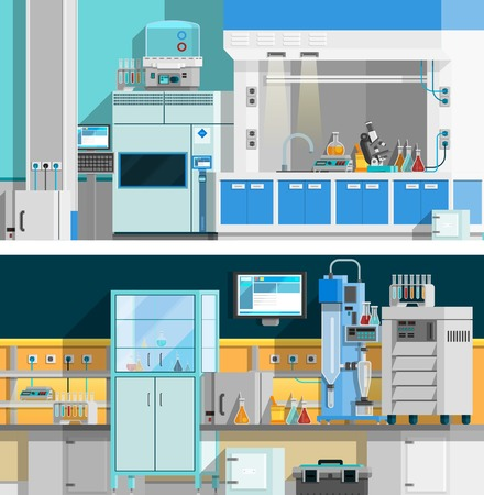 science lab: Two science laboratory horizontal banners with compositions of workspace for chemical experiments in modern interior flat vector illustration