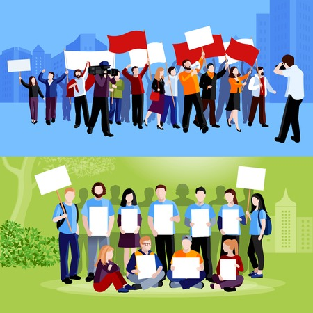 demonstrator: Demonstration protest people holding placards megaphones and flags and reporters with cameras on blue and green cityscape backgrounds flat isolated vector illustration